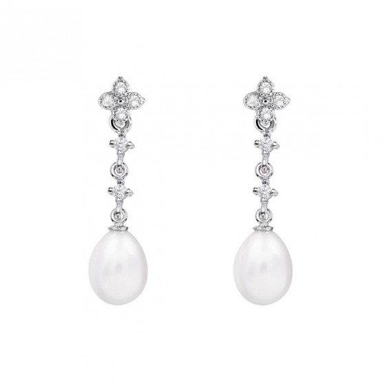 Pendientes de novia en oro blanco de18k con perlas ovalada (79B0102TE1) 1
