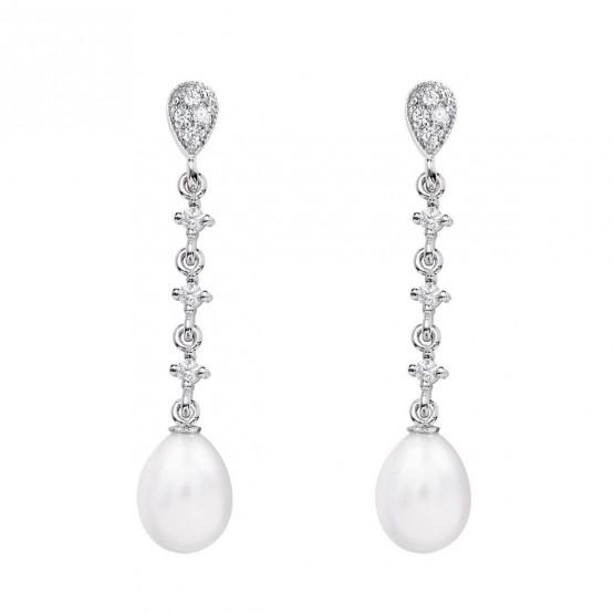Pendientes para novia en oro blanco de18k y perlas (79B0203TE1) 1