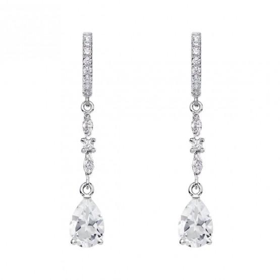 Pendientes de novia plata con topacios entrepieza marquise (79B0405TA1) 1