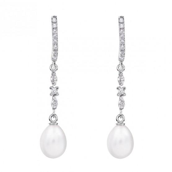 Pendientes de novia plata con topacios entrepieza marquise (79B0505TE1) 1