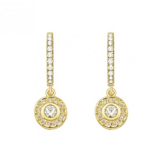 Pendientes oro amarillo 18k con diamantes redondos(75A0214)
