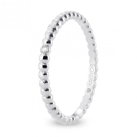 Anillo de boda de oro blanco 2mm con diamante (5B20541D)
