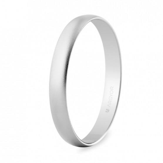 Alianza de boda oro blanco 3mm efecto arena (5B302M)