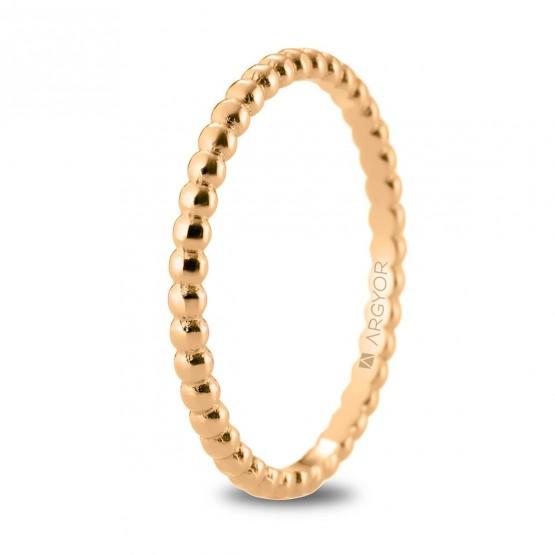 Alianza de boda en oro rosa 18k en forma perlada (5R18534)