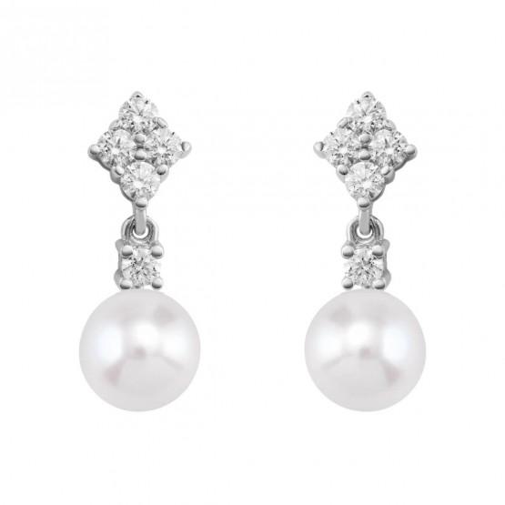 Pendientes de Diamantes en oro blanco con perlas (75B0106)