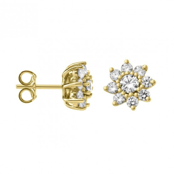 Pendientes de Diamantes Flor en oro 18k (75A0105)
