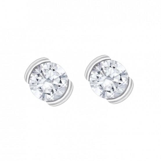 Pendientes de novia oro blanco y dos diamantes (75B0010)