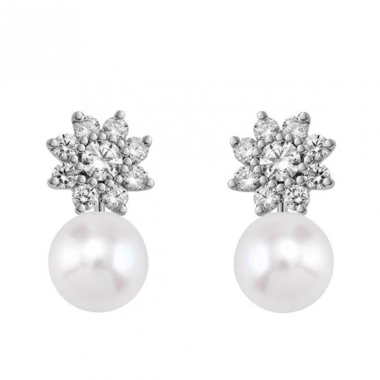 Pendientes de oro blanco con Diamantes y perlas en forma de flor  (75B0105P)