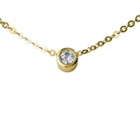 Collar de oro con Diamante en chatón (75A0019)