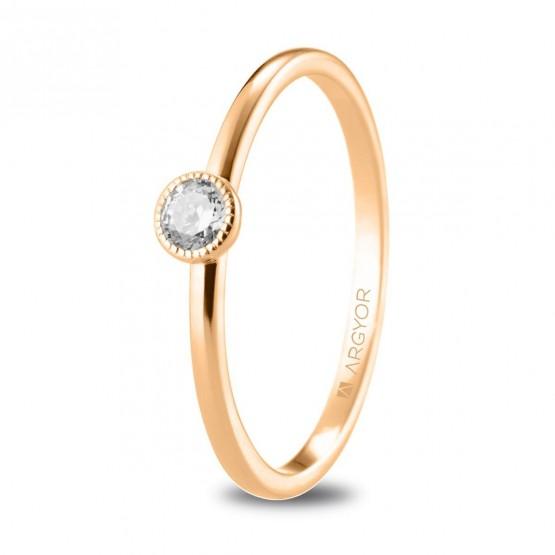 Anillo solitario de oro rosa y diamante 0.15ct (74R0078)