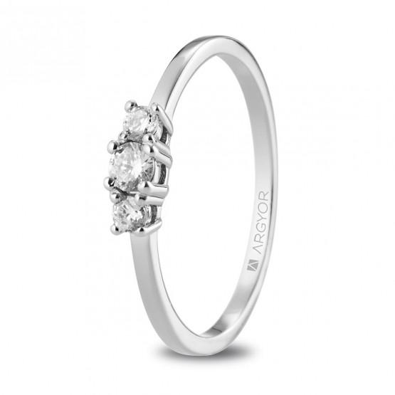 Anillo de oro blanco 18k con diamantes (74B0083)