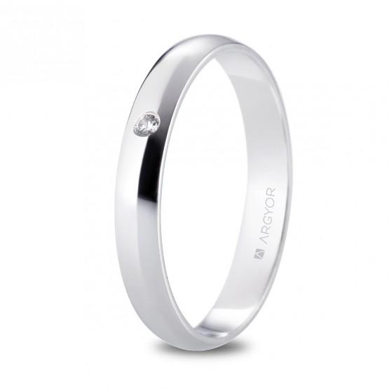 Alianza de platino media caña y diamante 3,5mm (05920135D)