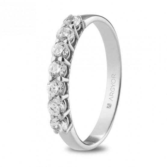 Anillo de compromiso de oro banco con 7 diamantes (74B0110)