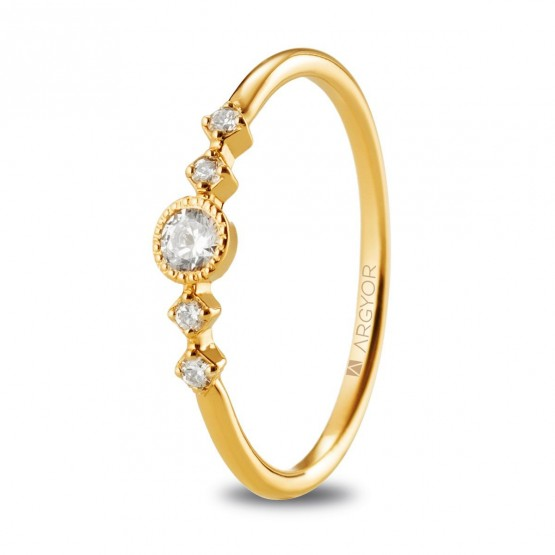 Anillo con 5 diamantes 0.16ct  de oro amarillo (74A0084)