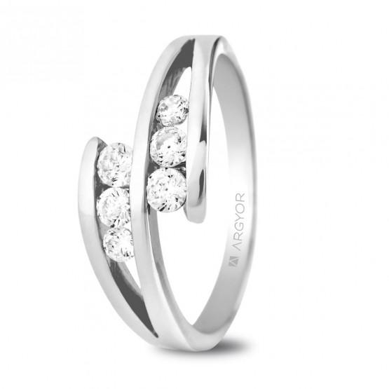 Anillo de compromiso platino 6 diamantes 0.352ct (74B0036)