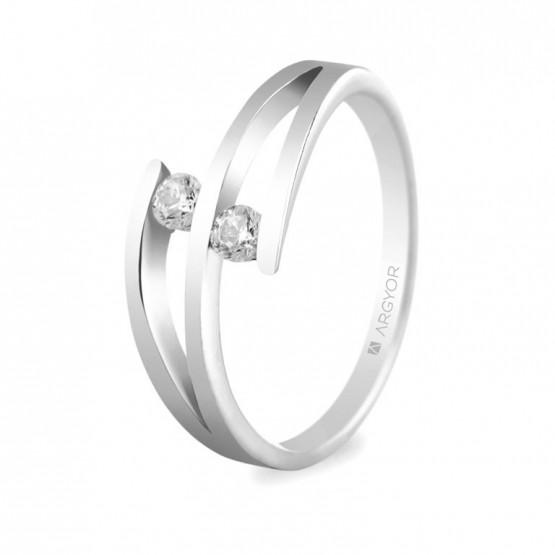 Anillo de compromiso platino con 2 diamantes 0,14ct (74B0035)