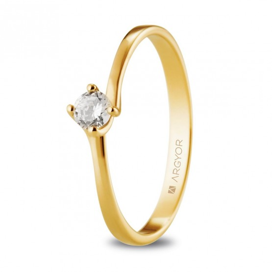 Anillo de oro amarillo con diamante 0.16ct (74A0072)