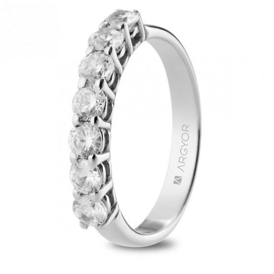 Anillo de Compromiso de oro blanco 7 diamantes (74B0112)