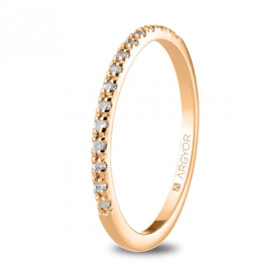 Anillo de diamantes de oro rosa 18k (74R0070)