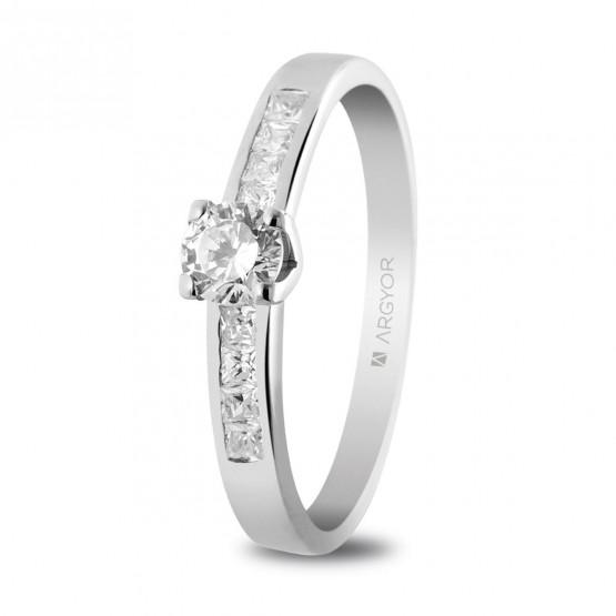 Anillo de compromiso con 9 diamantes 0.41ct (74B0031)
