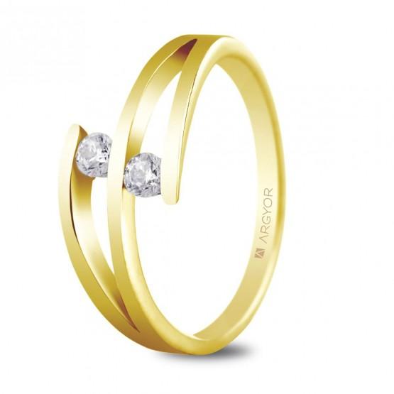 Anillo de compromiso 2 diamantes talla brillante 0.14ct (74A0035)