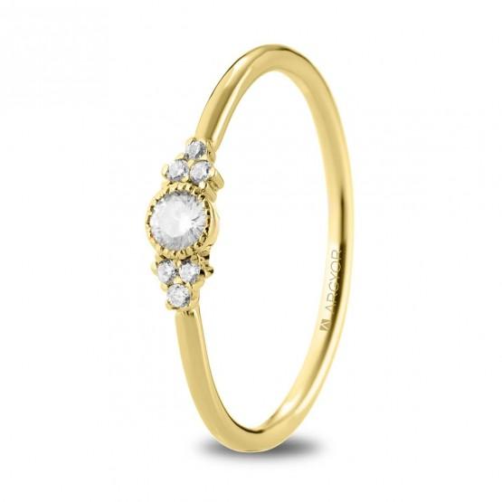 Anillo de oro amarillo y 7 diamantes (74A0095)