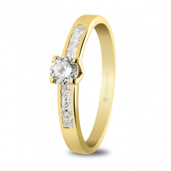 Anillo de compromiso 9 diamantes talla brillante 0.41ct (74A0031)