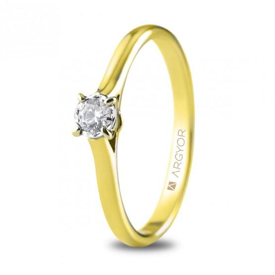 Anillo de compromiso oro amarillo con 1 diamante 0.14ct (74A0504)