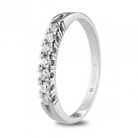 Anillo de de platino con 7 diamantes 0.21ct (74B0113)