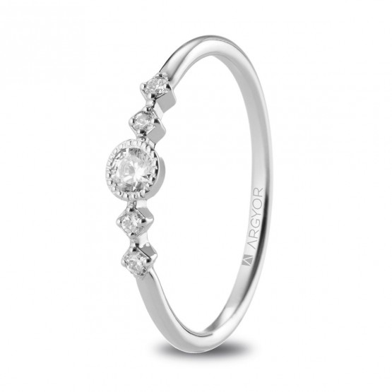 Anillo de platino con 5 diamantes 0.16ct  (74B0084)