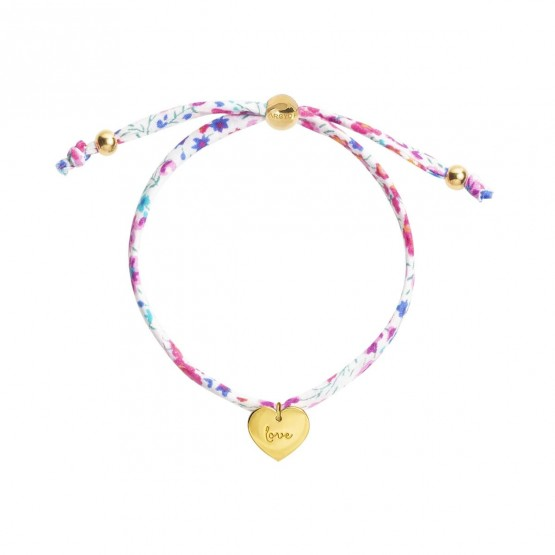 Pulsera con colgante corazón grabado en plata dorada y cordón (4A8307506)