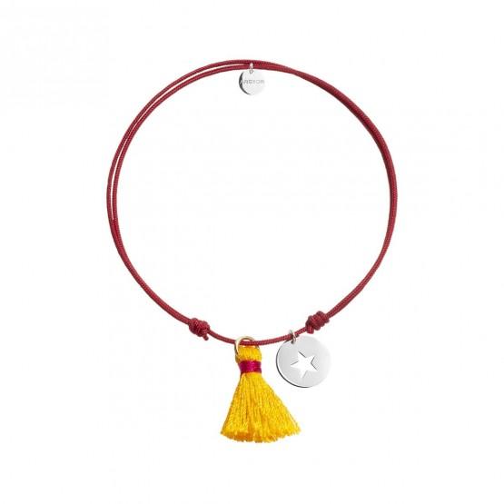 Pulsera Nylon rojo colgante estrella plata con pompón (4B8307503)