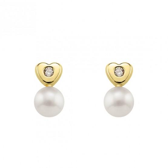 Pendientes de Bebé Corazón con Perlas y Diamantes (0316441)
