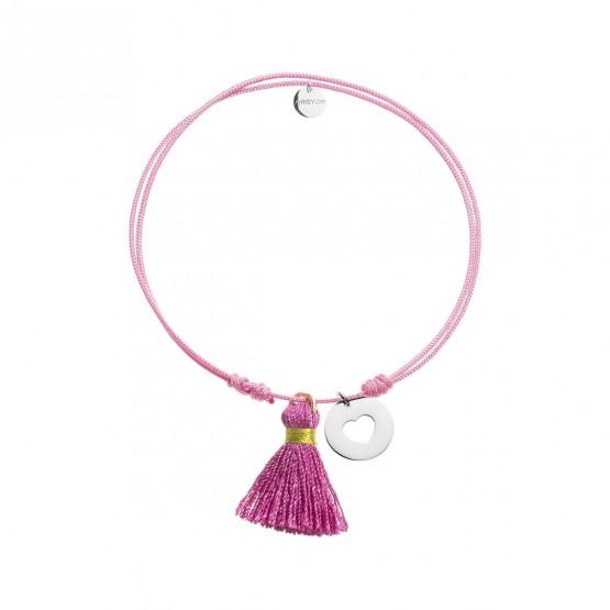 Pulsera Nylon colgante estrella plata con pompón Rosa (4B8307505)