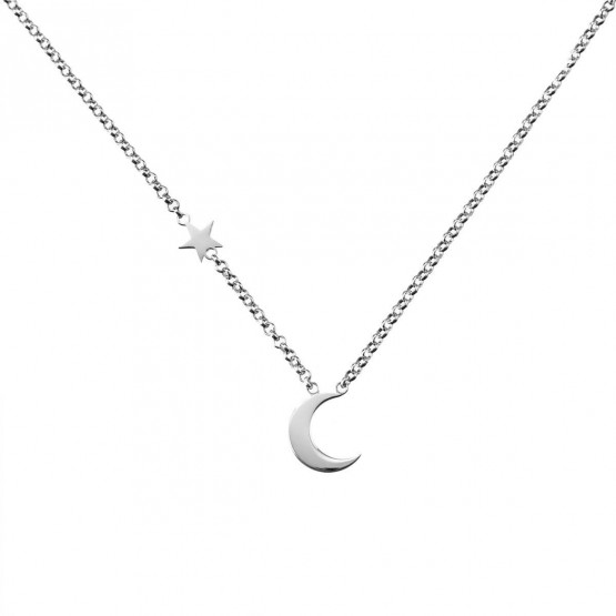 Collar de oro 18k blanco Luna y Estrella (3B8307300B)