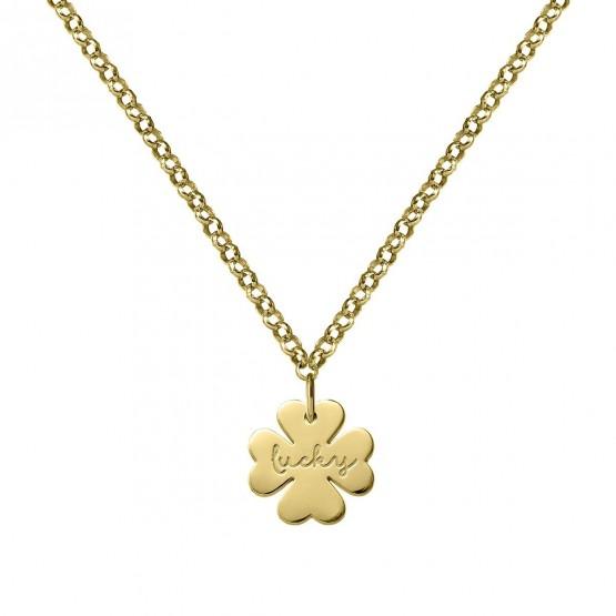 Gargantilla de plata dorada Trébol de la Suerte (3A8307318)