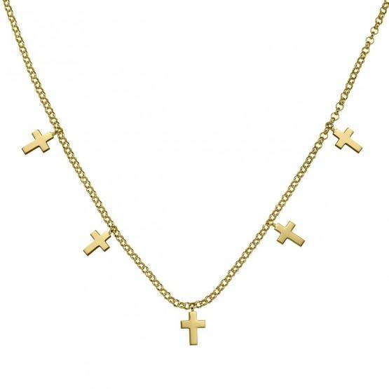 Gargantilla de plata de ley 925 dorada Cruces (3A8307304)