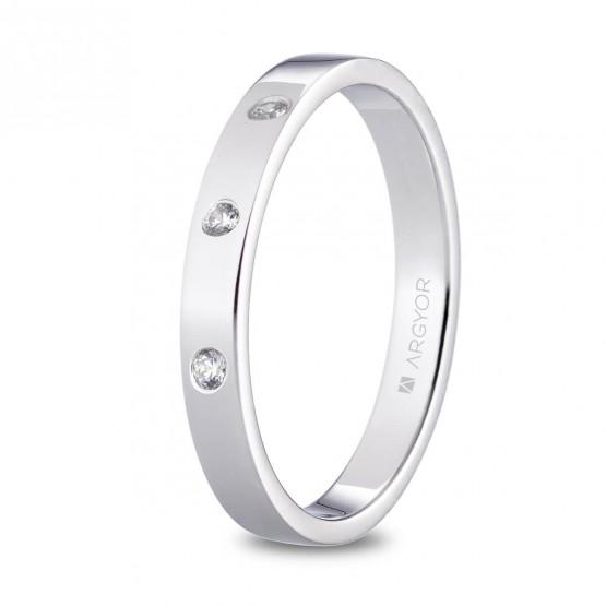 Alianza de platino plana y diamantes brillante 3mm (05930130D3)