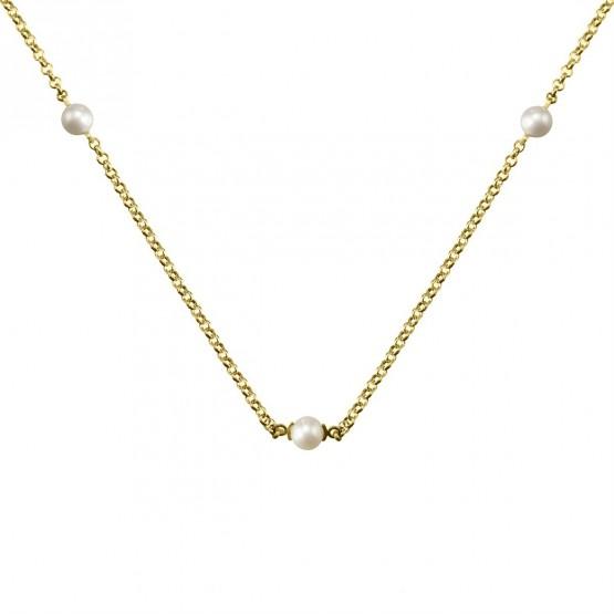 Gargantilla de plata dorada con Perlas (3A8307303A)