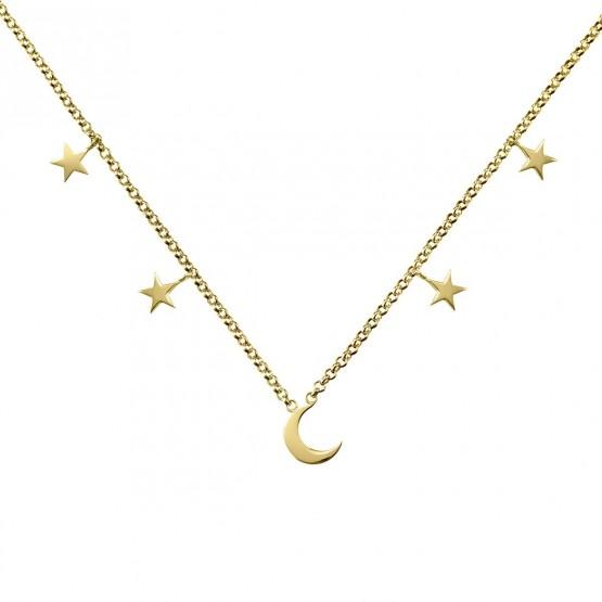 Collar de plata de ley 925 dorada Luna y Estrellas (3A8307300A)