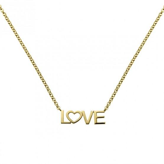 Collar de plata bañada en oro LOVE (3A8307305)