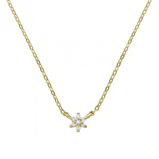 Collar de oro con flor 7 diamantes (76AGA001)