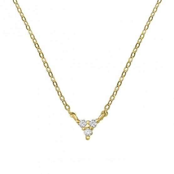 Collar de oro con triángulo 3 diamantes (76AGA002)