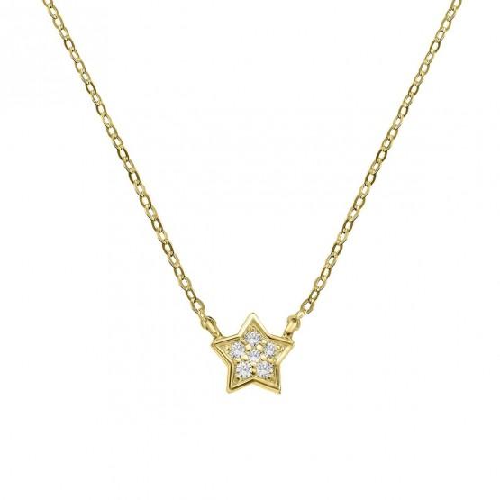 Collar de oro Estrella 6 diamantes (76AGA005)