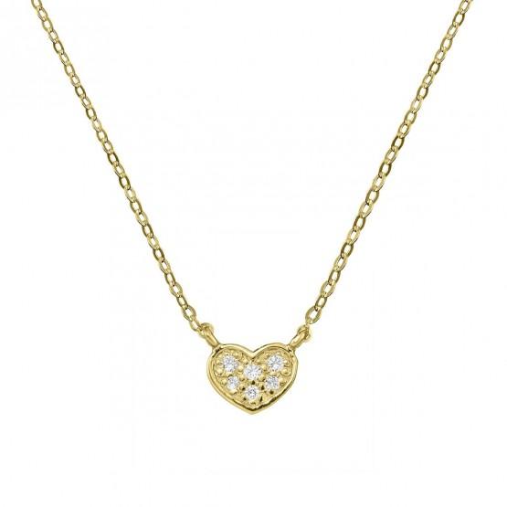 Collar de oro corazón 6 diamantes 0.08ct (76AGA007)