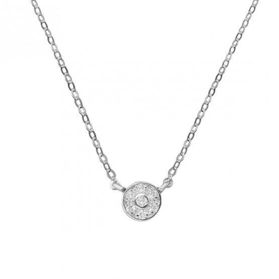 Collar de oro blanco con roseta de 7 diamantes (76BGA003)