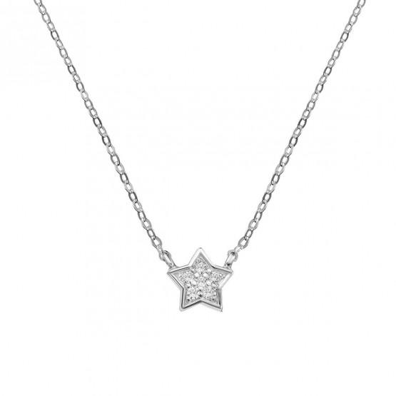 Collar de oro blanco Estrella 6 diamantes (76BGA005)