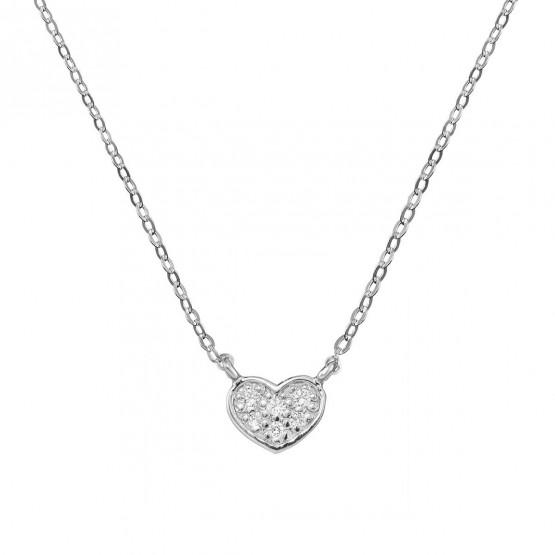 Collar de oro blanco corazón 6 diamantes (76BGA007)