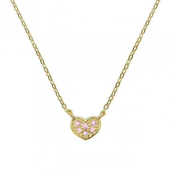 Colgante corazón oro con 6 zafiros rosas (76AGA007ZR)
