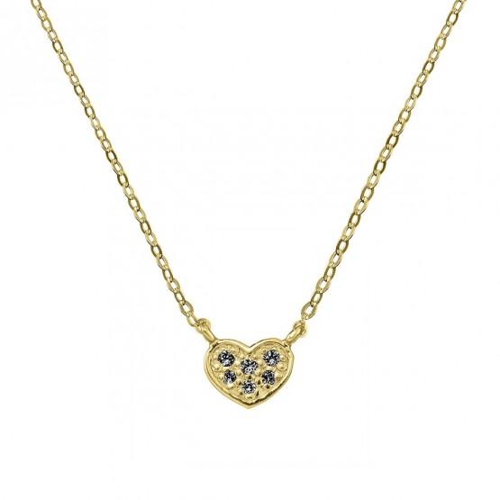 Colgante corazón oro con 6 diamantes negros (76AGA007DN)
